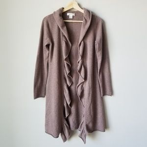 Kenar 100% Cashmere Ruffle Long Cardigan Sweater